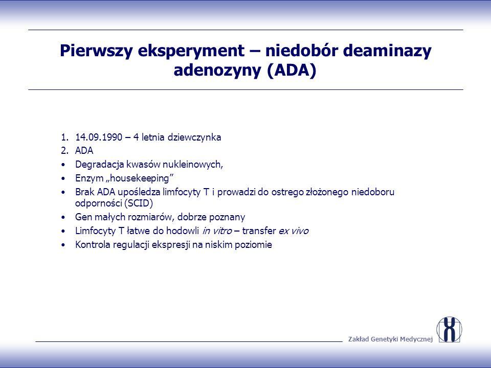 Zakład Genetyki Medycznej Pierwszy eksperyment – niedobór deaminazy adenozyny (ADA) 1.14.09.1990 – 4 letnia dziewczynka 2.ADA Degradacja kwasów nuklei