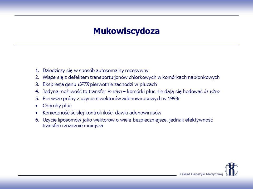Zakład Genetyki Medycznej Mukowiscydoza 1.Dziedziczy się w sposób autosomalny recesywny 2.Wiąże się z defektem transportu jonów chlorkowych w komórkac