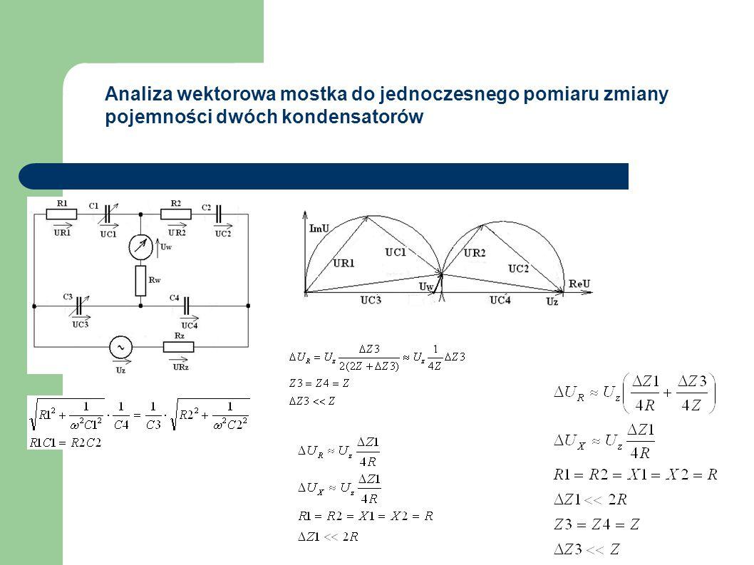 Analiza wektorowa mostka do jednoczesnego pomiaru zmiany pojemności dwóch kondensatorów