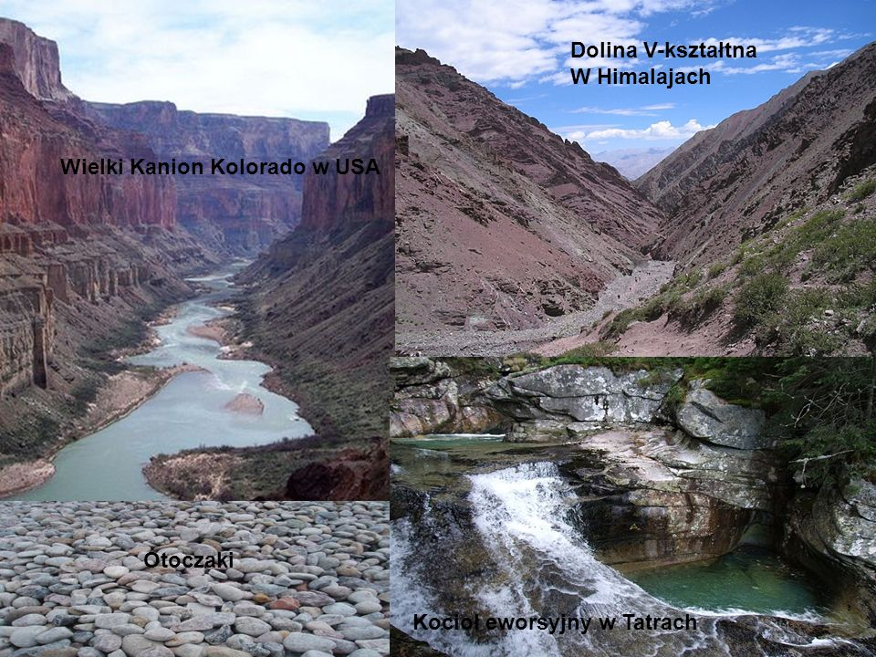 Wielki Kanion Kolorado w USA Dolina V-kształtna W Himalajach Otoczaki Kocioł eworsyjny w Tatrach