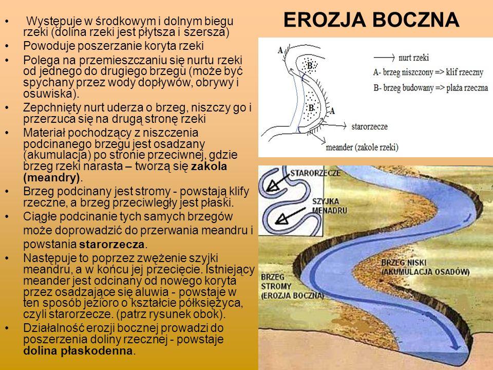EROZJA BOCZNA Występuje w środkowym i dolnym biegu rzeki (dolina rzeki jest płytsza i szersza) Powoduje poszerzanie koryta rzeki Polega na przemieszcz