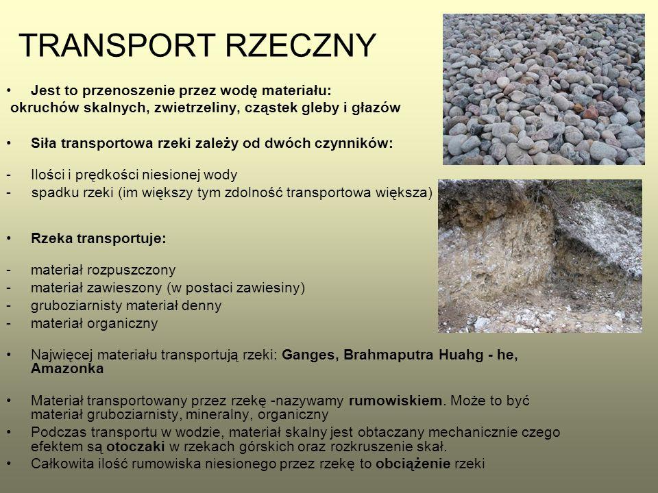 TRANSPORT RZECZNY Jest to przenoszenie przez wodę materiału: okruchów skalnych, zwietrzeliny, cząstek gleby i głazów Siła transportowa rzeki zależy od