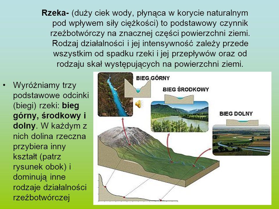 W biegu górnym rzeka ma duży spadek, transportuje więc dużo materiału skalnego.