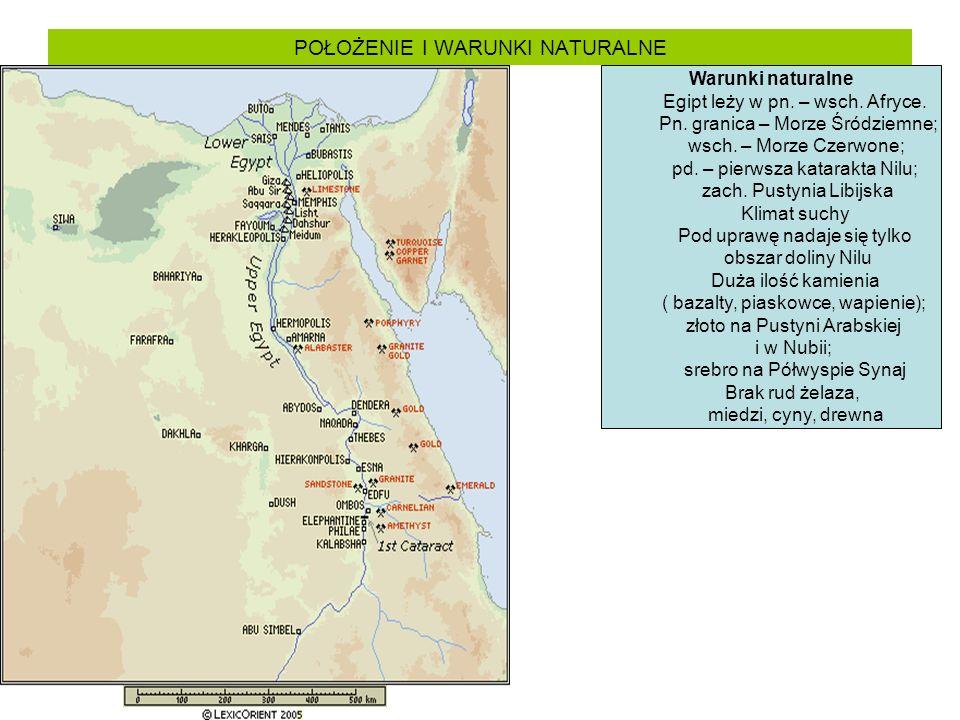 POŁOŻENIE I WARUNKI NATURALNE Warunki naturalne Egipt leży w pn. – wsch. Afryce. Pn. granica – Morze Śródziemne; wsch. – Morze Czerwone; pd. – pierwsz