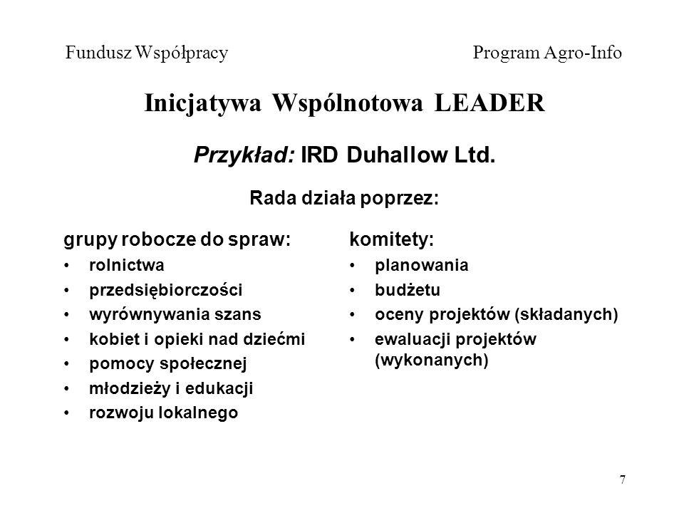 7 Fundusz Współpracy Program Agro-Info Inicjatywa Wspólnotowa LEADER Przykład: IRD Duhallow Ltd.