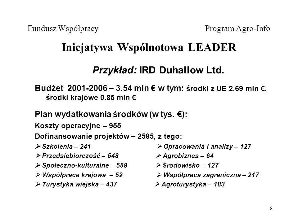 8 Fundusz Współpracy Program Agro-Info Inicjatywa Wspólnotowa LEADER Przykład: IRD Duhallow Ltd.