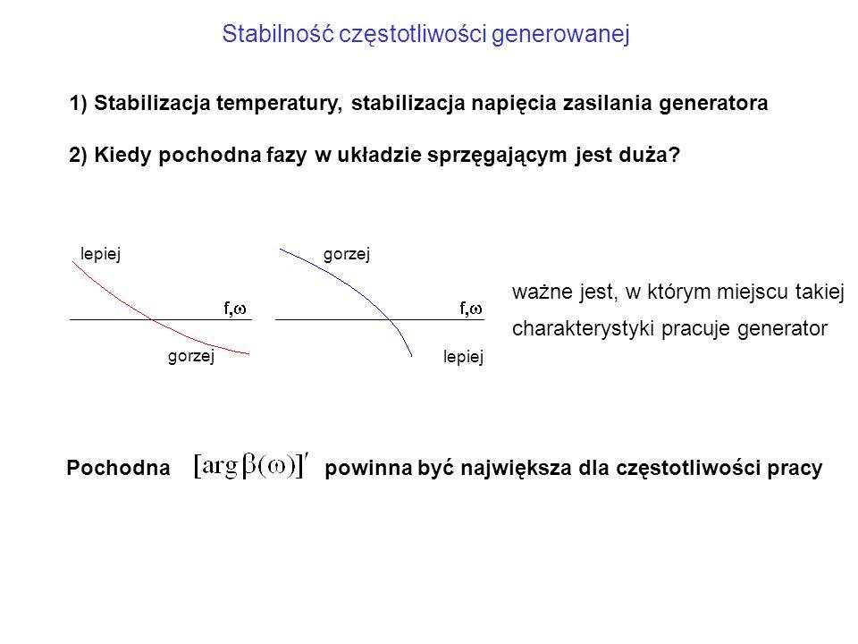 Stabilność częstotliwości generowanej 1) Stabilizacja temperatury, stabilizacja napięcia zasilania generatora 2) Kiedy pochodna fazy w układzie sprzęg