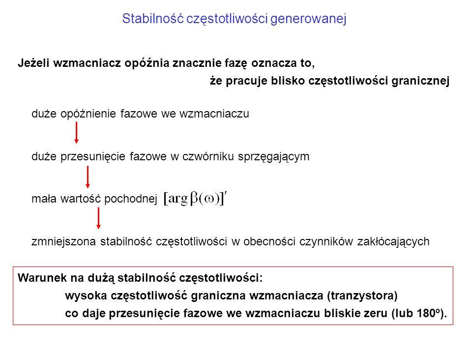 Stabilność częstotliwości generowanej Warunek na dużą stabilność częstotliwości: wysoka częstotliwość graniczna wzmacniacza (tranzystora) co daje prze