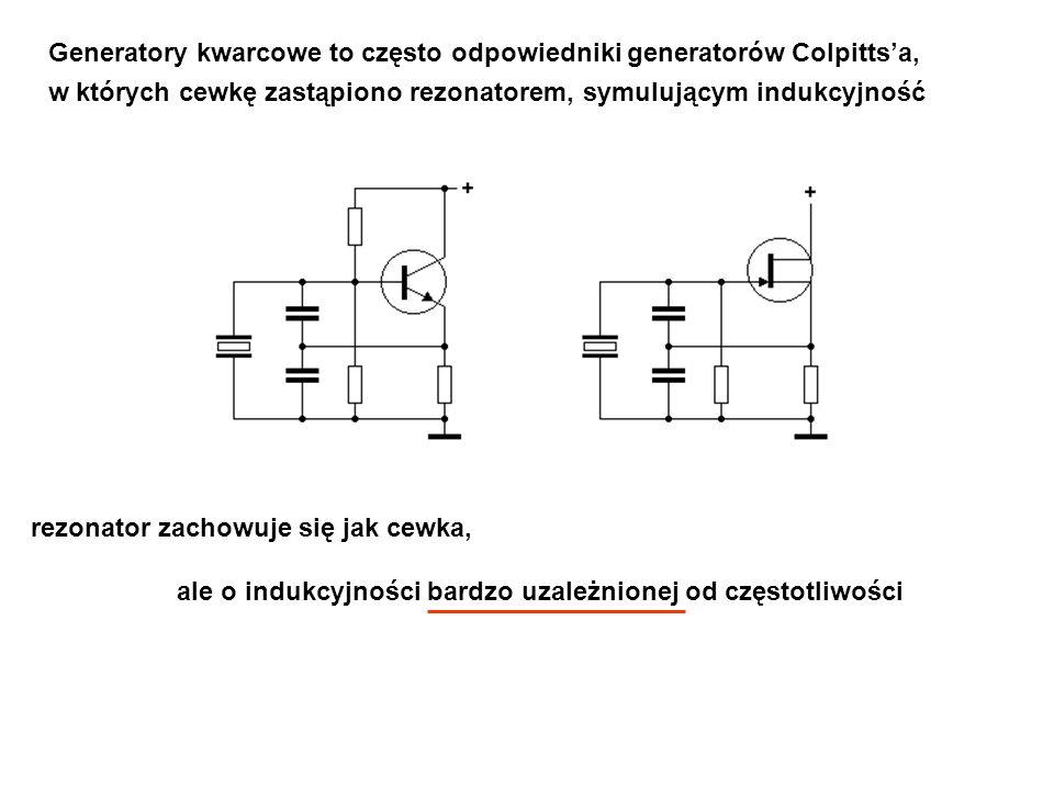 rezonator zachowuje się jak cewka, ale o indukcyjności bardzo uzależnionej od częstotliwości Generatory kwarcowe to często odpowiedniki generatorów Co