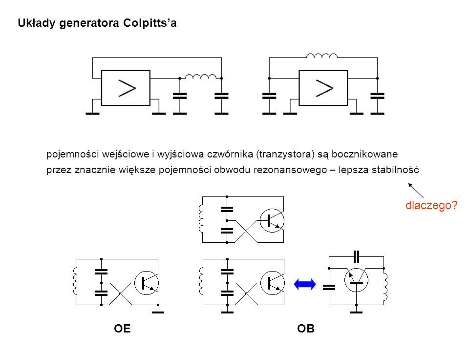Układy generatora Colpitts'a OEOB pojemności wejściowe i wyjściowa czwórnika (tranzystora) są bocznikowane przez znacznie większe pojemności obwodu re