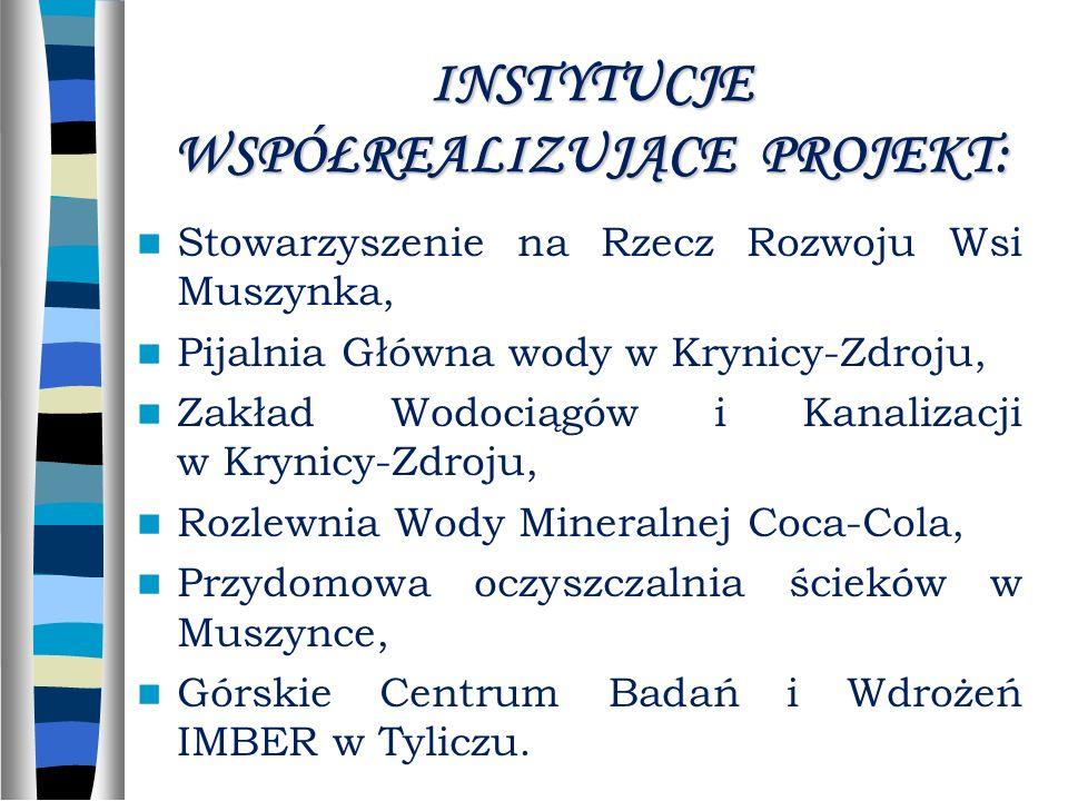 INSTYTUCJE WSPÓŁREALIZUJĄCE PROJEKT: Stowarzyszenie na Rzecz Rozwoju Wsi Muszynka, Pijalnia Główna wody w Krynicy-Zdroju, Zakład Wodociągów i Kanalizacji w Krynicy-Zdroju, Rozlewnia Wody Mineralnej Coca-Cola, Przydomowa oczyszczalnia ścieków w Muszynce, Górskie Centrum Badań i Wdrożeń IMBER w Tyliczu.
