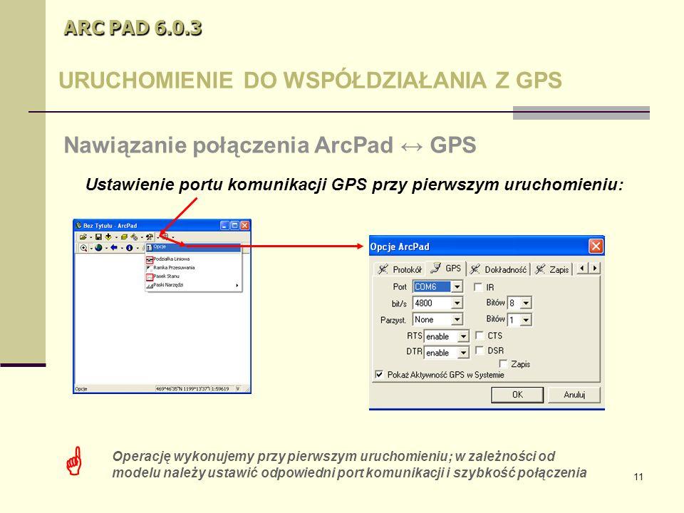 11 ARC PAD 6.0.3 URUCHOMIENIE DO WSPÓŁDZIAŁANIA Z GPS Nawiązanie połączenia ArcPad ↔ GPS  Operację wykonujemy przy pierwszym uruchomieniu; w zależności od modelu należy ustawić odpowiedni port komunikacji i szybkość połączenia Ustawienie portu komunikacji GPS przy pierwszym uruchomieniu: