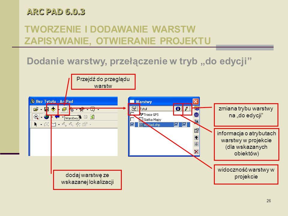 """26 ARC PAD 6.0.3 TWORZENIE I DODAWANIE WARSTW ZAPISYWANIE, OTWIERANIE PROJEKTU Dodanie warstwy, przełączenie w tryb """"do edycji widoczność warstwy w projekcie informacja o atrybutach warstwy w projekcie (dla wskazanych obiektów) zmiana trybu warstwy na """"do edycji dodaj warstwę ze wskazanej lokalizacji Przejdź do przeglądu warstw"""
