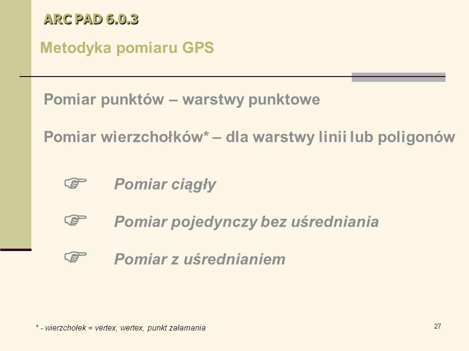 27 ARC PAD 6.0.3 Metodyka pomiaru GPS Pomiar punktów – warstwy punktowe Pomiar wierzchołków* – dla warstwy linii lub poligonów Pomiar ciągły Pomiar pojedynczy bez uśredniania Pomiar z uśrednianiem    * - wierzchołek = vertex, wertex, punkt załamania