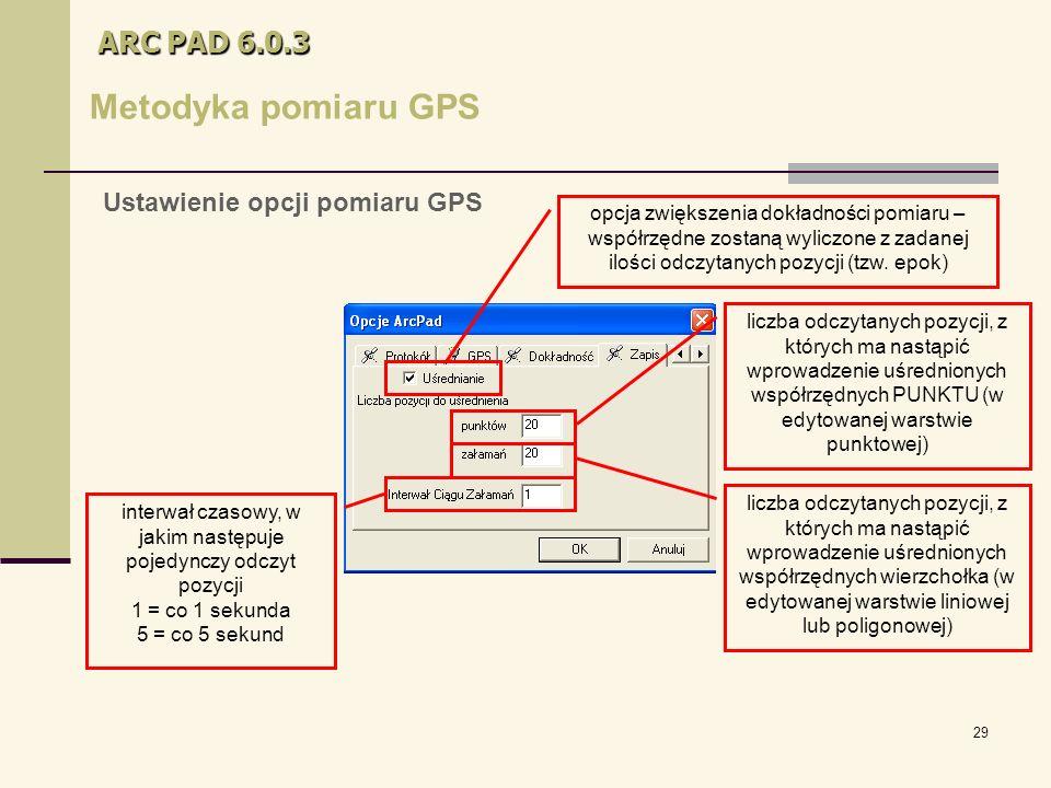 29 ARC PAD 6.0.3 Metodyka pomiaru GPS opcja zwiększenia dokładności pomiaru – współrzędne zostaną wyliczone z zadanej ilości odczytanych pozycji (tzw.
