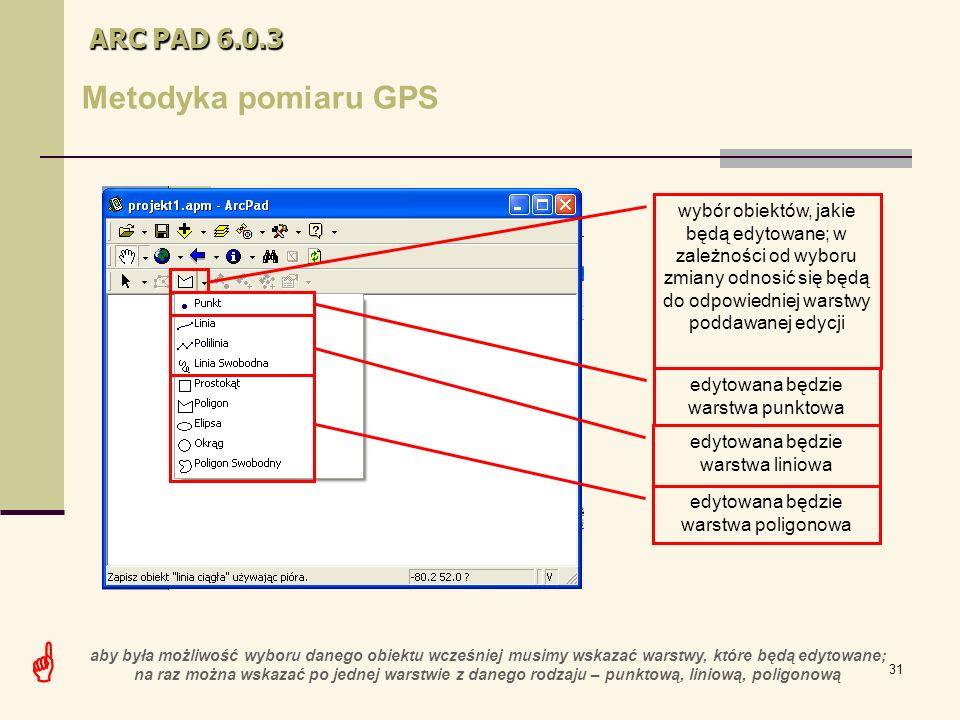31 ARC PAD 6.0.3 Metodyka pomiaru GPS wybór obiektów, jakie będą edytowane; w zależności od wyboru zmiany odnosić się będą do odpowiedniej warstwy poddawanej edycji edytowana będzie warstwa punktowa edytowana będzie warstwa liniowa edytowana będzie warstwa poligonowa  aby była możliwość wyboru danego obiektu wcześniej musimy wskazać warstwy, które będą edytowane; na raz można wskazać po jednej warstwie z danego rodzaju – punktową, liniową, poligonową