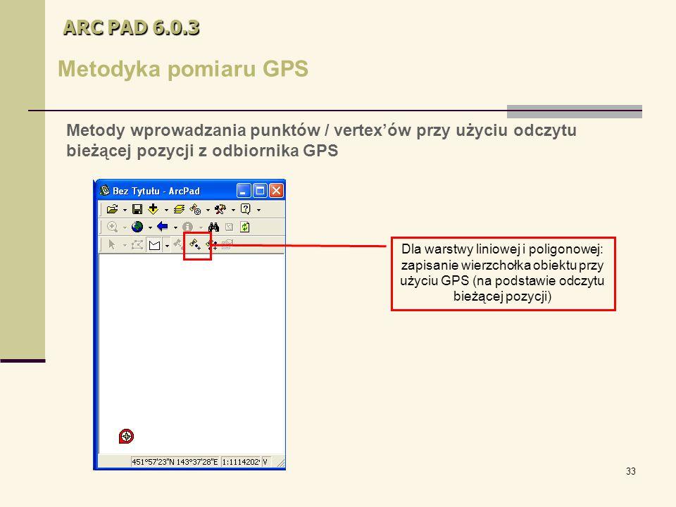 33 ARC PAD 6.0.3 Metodyka pomiaru GPS Dla warstwy liniowej i poligonowej: zapisanie wierzchołka obiektu przy użyciu GPS (na podstawie odczytu bieżącej pozycji) Metody wprowadzania punktów / vertex'ów przy użyciu odczytu bieżącej pozycji z odbiornika GPS