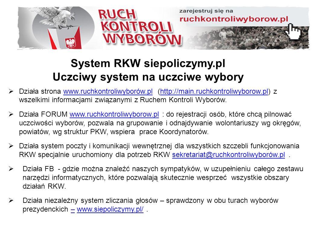 System RKW siepoliczymy.pl Uczciwy system na uczciwe wybory  Działa strona www.ruchkontroliwyborów.pl (http://main.ruchkontroliwyborow.pl) z wszelkimi informacjami związanymi z Ruchem Kontroli Wyborów.www.ruchkontroliwyborów.plhttp://main.ruchkontroliwyborow.pl  Działa FORUM www.ruchkontroliwyborow.pl : do rejestracji osób, które chcą pilnować uczciwości wyborów, pozwala na grupowanie i odnajdywanie wolontariuszy wg okręgów, powiatów, wg struktur PKW, wspiera prace Koordynatorów.www.ruchkontroliwyborow.pl  Działa system poczty i komunikacji wewnętrznej dla wszystkich szczebli funkcjonowania RKW specjalnie uruchomiony dla potrzeb RKW sekretariat@ruchkontroliwyborów.pl.sekretariat@ruchkontroliwyborów.pl  Działa FB - gdzie można znaleźć naszych sympatyków, w uzupełnieniu całego zestawu narzędzi informatycznych, które pozwalają skutecznie wesprzeć wszystkie obszary działań RKW.