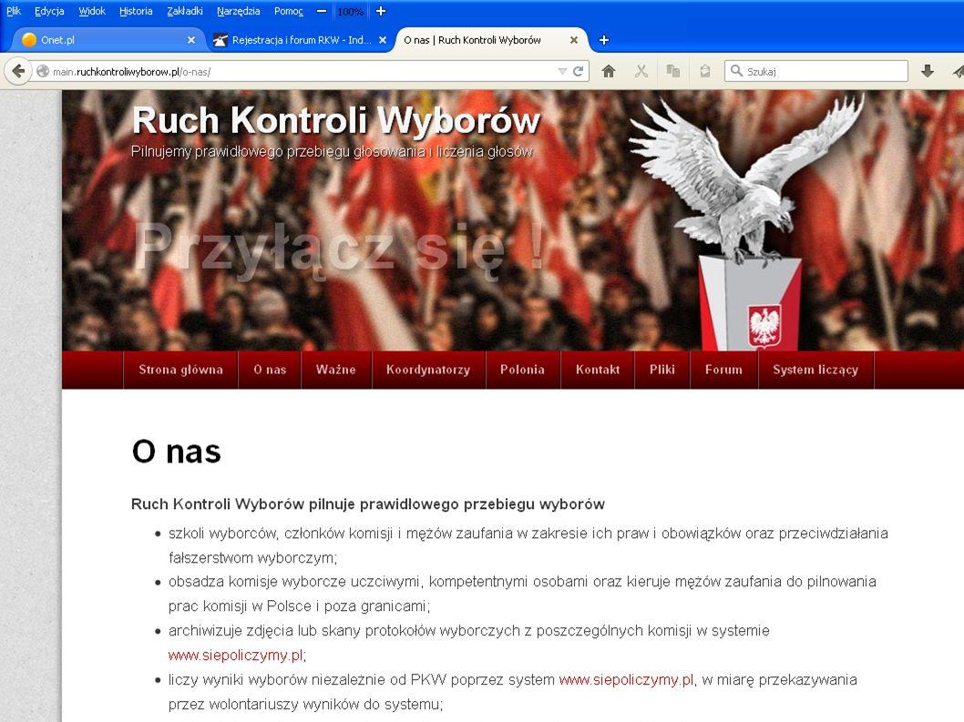 System RKW siepoliczymy.pl Uczciwy system na uczciwe wybory liczy wyniki wyborów niezależnie od PKW poprzez system www.siepoliczymy.pl, w miarę przekazywania przez dzielawww.siepoliczymy.pl