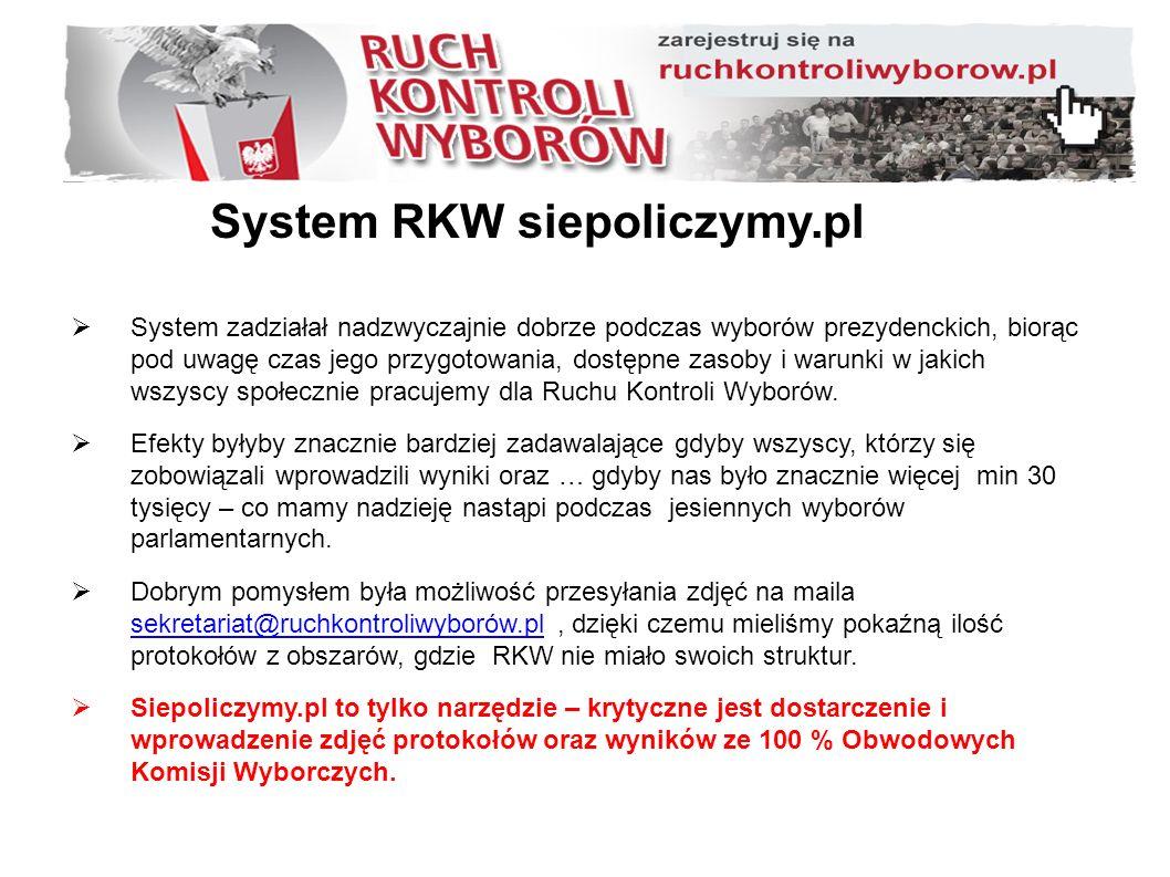System RKW siepoliczymy.pl  System zadziałał nadzwyczajnie dobrze podczas wyborów prezydenckich, biorąc pod uwagę czas jego przygotowania, dostępne zasoby i warunki w jakich wszyscy społecznie pracujemy dla Ruchu Kontroli Wyborów.