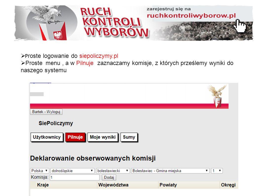  P roste logowanie do siepoliczymy.pl  Proste menu, a w Pilnuje zaznaczamy komisje, z których prześlemy wyniki do naszego systemu