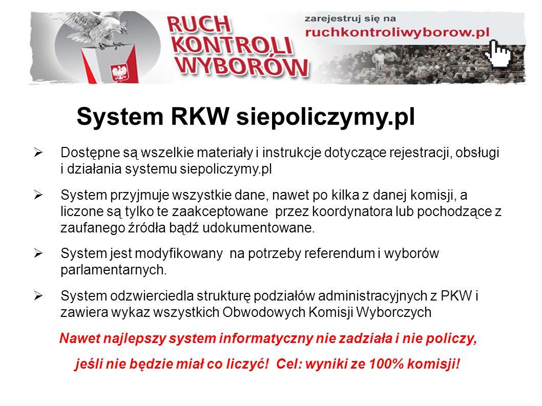 System RKW siepoliczymy.pl  Dostępne są wszelkie materiały i instrukcje dotyczące rejestracji, obsługi i działania systemu siepoliczymy.pl  System przyjmuje wszystkie dane, nawet po kilka z danej komisji, a liczone są tylko te zaakceptowane przez koordynatora lub pochodzące z zaufanego źródła bądź udokumentowane.