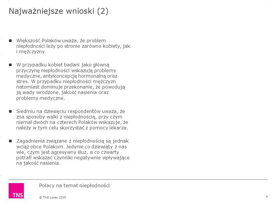 3.14 X AXIS 6.65 BASE MARGIN 5.95 TOP MARGIN 4.52 CHART TOP 11.90 LEFT MARGIN 11.90 RIGHT MARGIN DO NOT ALTER SLIDE MASTERS – THIS IS A TNS APPROVED TEMPLATE Polacy na temat niepłodności © TNS Lipiec 2015 Najważniejsze wnioski (2) Większość Polaków uważa, że problem niepłodności leży po stronie zarówno kobiety, jak i mężczyzny.
