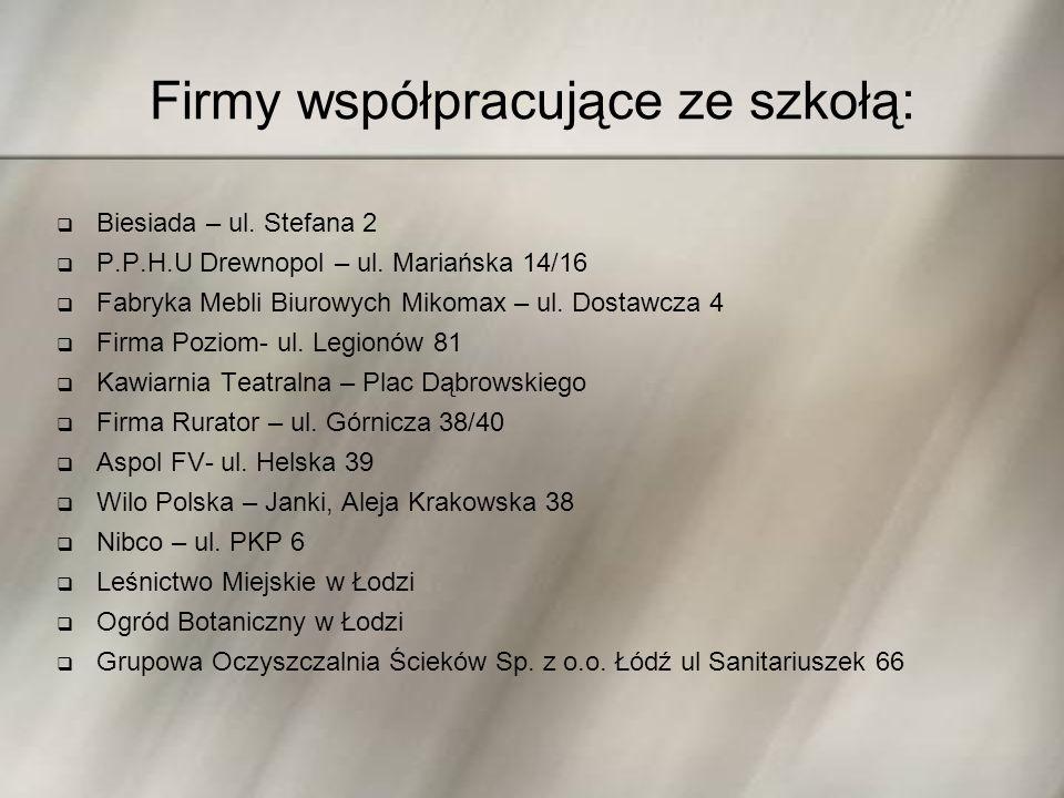 Firmy współpracujące ze szkołą:  Biesiada – ul.Stefana 2  P.P.H.U Drewnopol – ul.