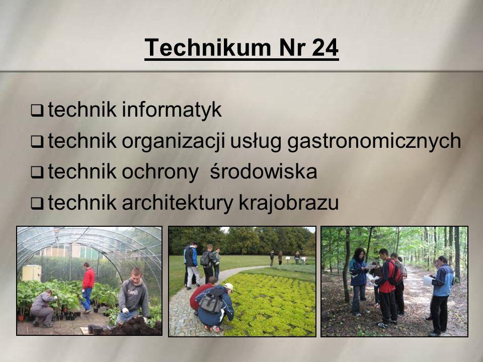 Technikum Nr 24  technik informatyk  technik organizacji usług gastronomicznych  technik ochrony środowiska  technik architektury krajobrazu