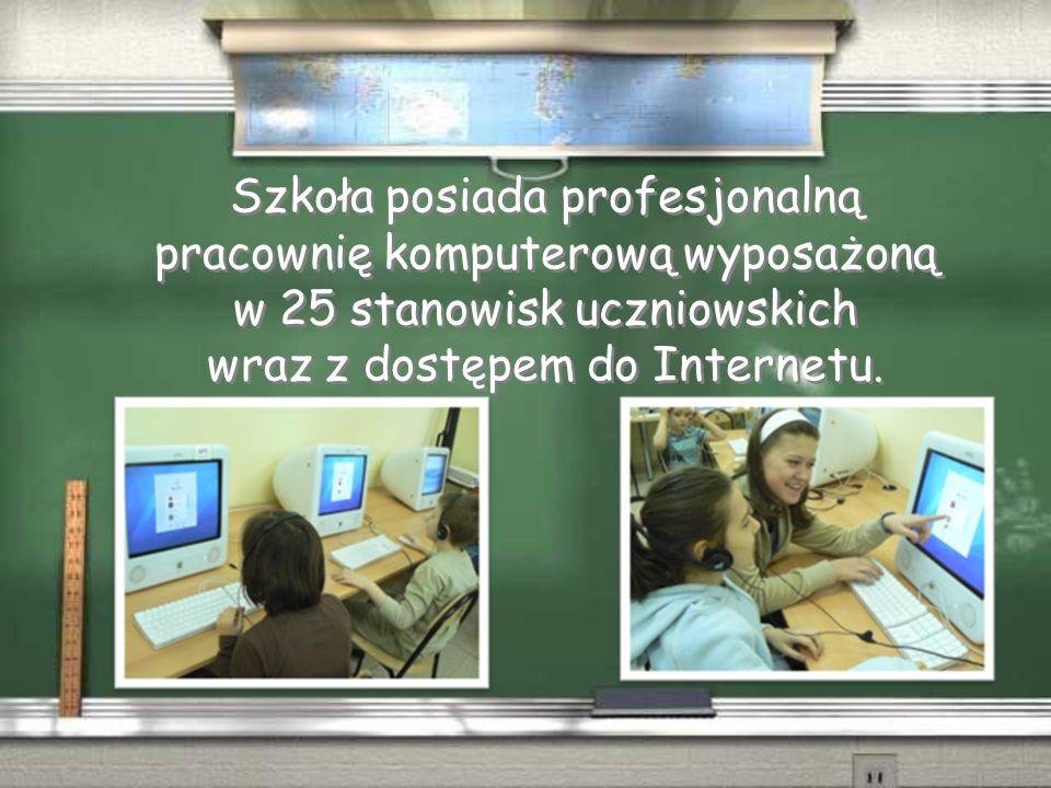 Szkoła posiada profesjonalną pracownię komputerową wyposażoną w 25 stanowisk uczniowskich wraz z dostępem do Internetu.