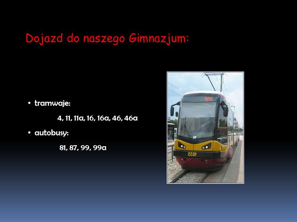Dojazd do naszego Gimnazjum: tramwaje: 4, 11, 11a, 16, 16a, 46, 46a autobusy: 81, 87, 99, 99a