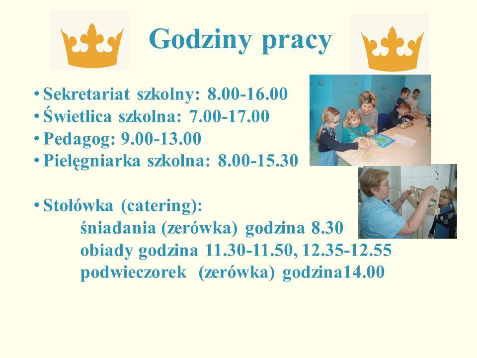Godziny pracy Sekretariat szkolny: 8.00-16.00 Świetlica szkolna: 7.00-17.00 Pedagog: 9.00-13.00 Pielęgniarka szkolna: 8.00-15.30 Stołówka (catering): śniadania (zerówka) godzina 8.30 obiady godzina 11.30-11.50, 12.35-12.55 podwieczorek (zerówka) godzina14.00