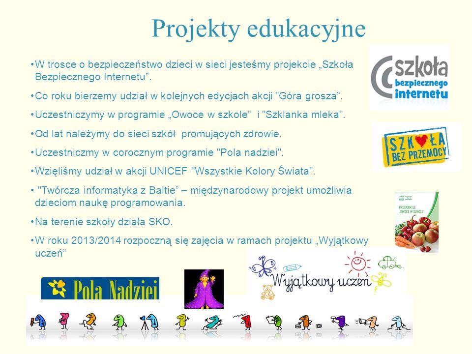 """Projekty edukacyjne W trosce o bezpieczeństwo dzieci w sieci jesteśmy projekcie """"Szkoła Bezpiecznego Internetu"""". Co roku bierzemy udział w kolejnych e"""