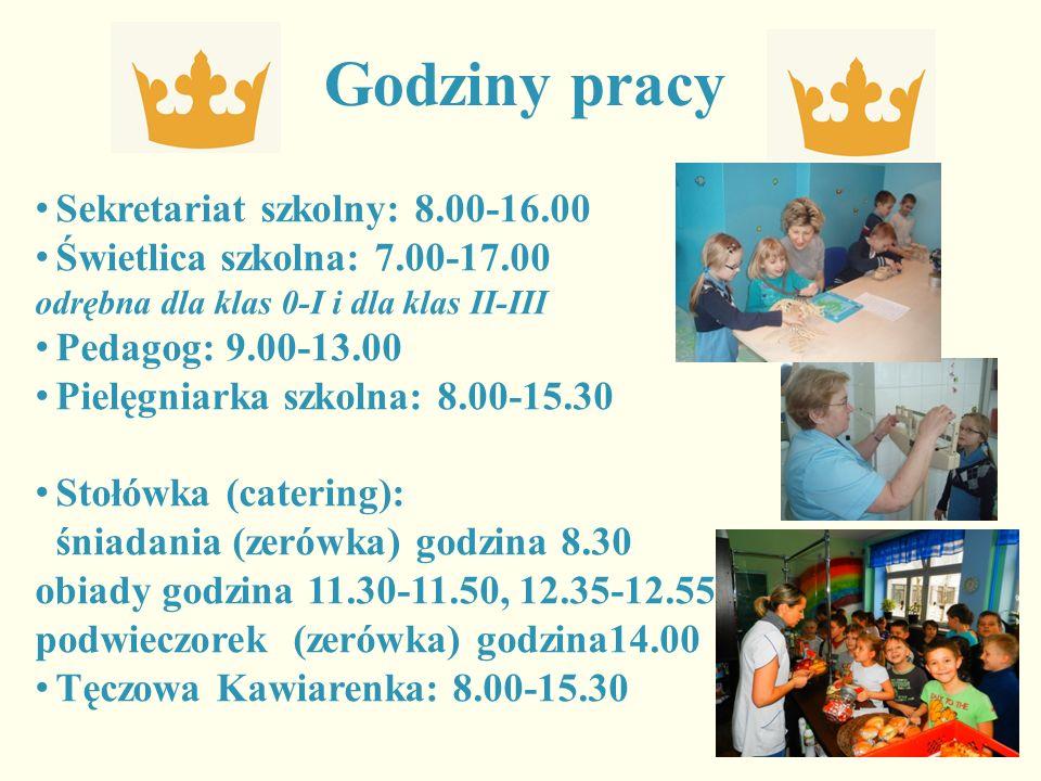 Godziny pracy Sekretariat szkolny: 8.00-16.00 Świetlica szkolna: 7.00-17.00 odrębna dla klas 0-I i dla klas II-III Pedagog: 9.00-13.00 Pielęgniarka sz