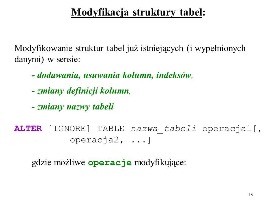 19 Modyfikacja struktury tabel: Modyfikowanie struktur tabel już istniejących (i wypełnionych danymi) w sensie: - dodawania, usuwania kolumn, indeksów, - zmiany definicji kolumn, - zmiany nazwy tabeli ALTER [IGNORE] TABLE nazwa_tabeli operacja1[, operacja2,...] gdzie możliwe operacje modyfikujące: