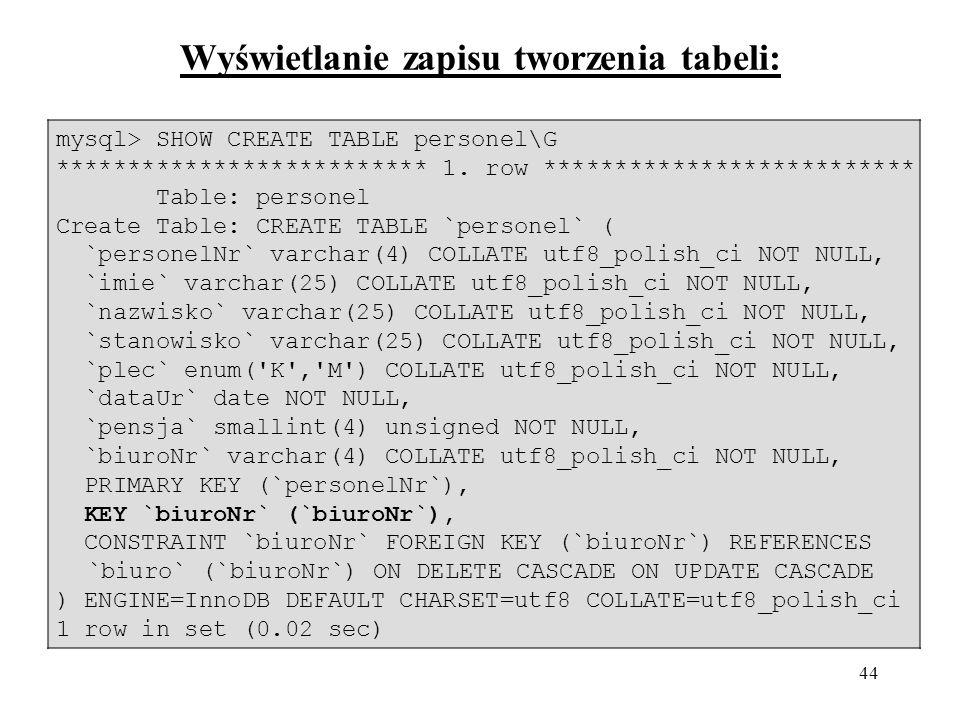 44 Wyświetlanie zapisu tworzenia tabeli: mysql> SHOW CREATE TABLE personel\G ************************** 1.