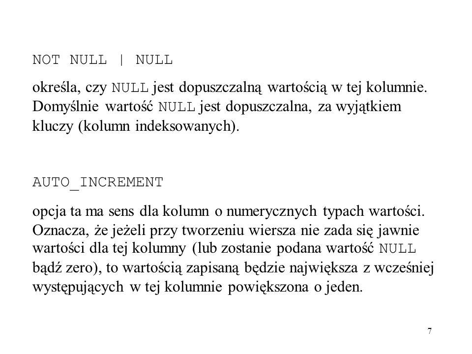 38 mysql> INSERT INTO biuro VALUES ( B003 , Mała 63 , Białystok , 15-900 ), ( B004 , Miodowa 32 , Grajewo , 19-300 ), ( B005 , Dobra 22 ,'Łomża , 18-400 ), ( B006 , Słoneczna 55 , Białystok , 15-900 ), ( B007 , Akacjowa 16 , Augustów , 16-300 ); Query OK, 1 row affected (0.05 sec) mysql> SELECT * FROM biuro; +---------+---------------+------------+--------+ | biuroNr | ulica | miasto | kod | +---------+---------------+------------+--------+ | B001 | Piękna 46 | Białystok | 15-900 | | B002 | Cicha 56 | Łomża | 18-400 | | B003 | Mała 63 | Białystok | 15-900 | | B004 | Miodowa 32 | Grajewo | 19-300 | | B005 | Dobra 22 | Łomża | 18-400 | | B006 | Słoneczna 55 | Białystok | 15-900 | | B007 | Akacjowa 16 | Augustów | 16-300 | +---------+---------------+------------+--------+ 7 rows in set (0.00 sec)