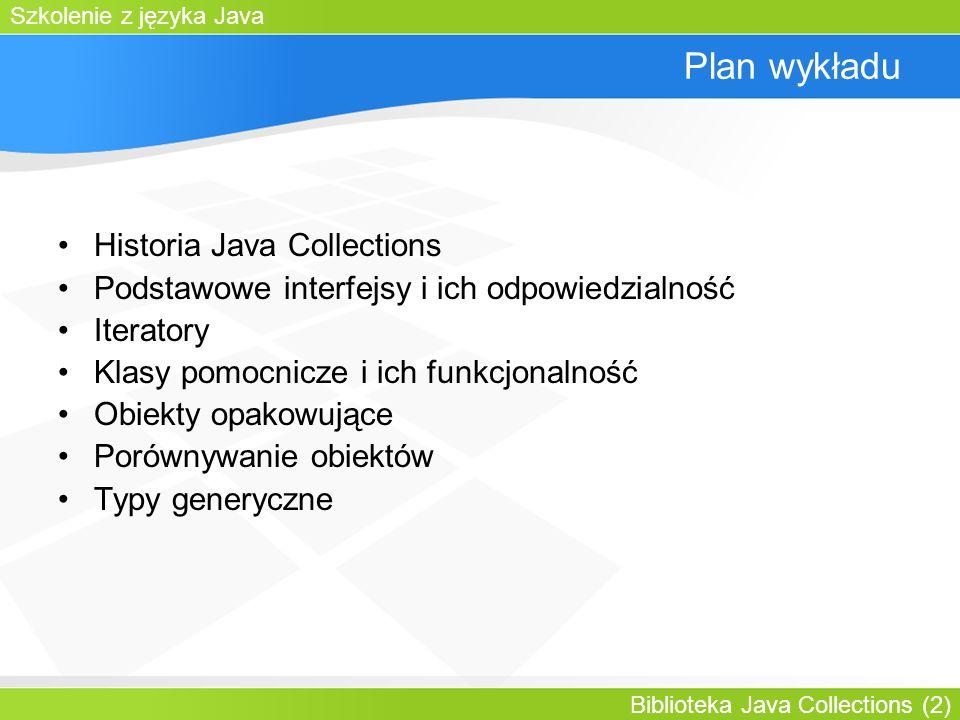 Szkolenie z języka Java Biblioteka Java Collections (2) Plan wykładu Historia Java Collections Podstawowe interfejsy i ich odpowiedzialność Iteratory Klasy pomocnicze i ich funkcjonalność Obiekty opakowujące Porównywanie obiektów Typy generyczne