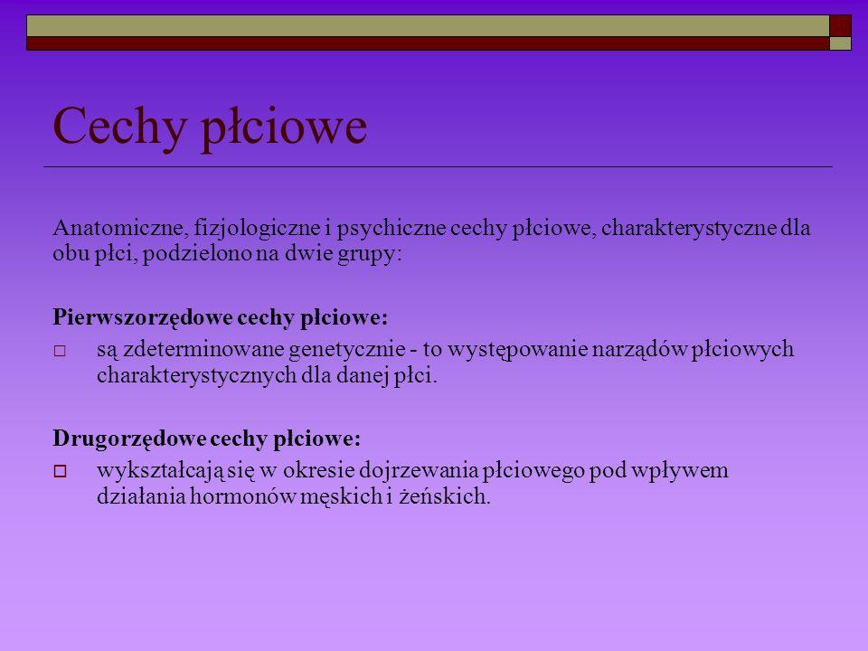 Cechy płciowe Anatomiczne, fizjologiczne i psychiczne cechy płciowe, charakterystyczne dla obu płci, podzielono na dwie grupy: Pierwszorzędowe cechy p