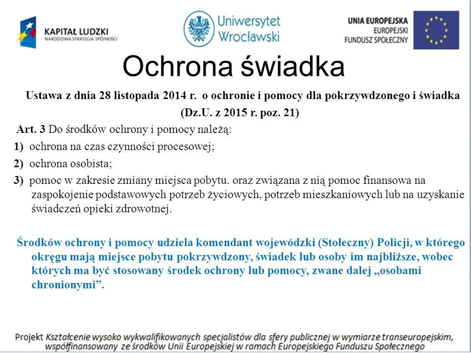 Ochrona świadka Ustawa z dnia 28 listopada 2014 r.