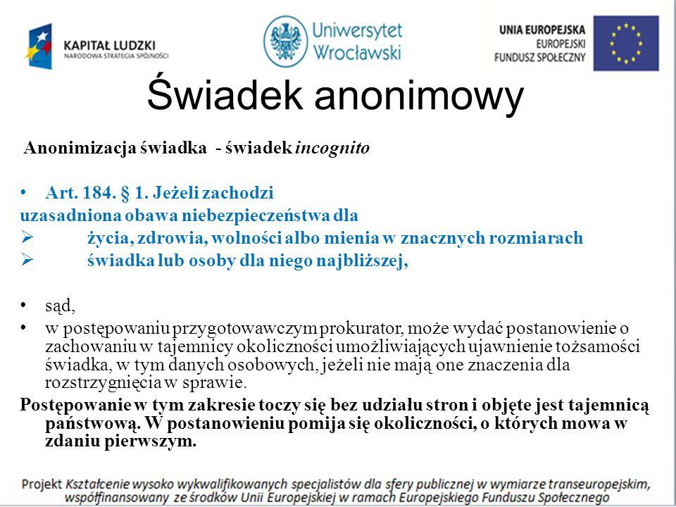 Świadek anonimowy Anonimizacja świadka - świadek incognito Art.