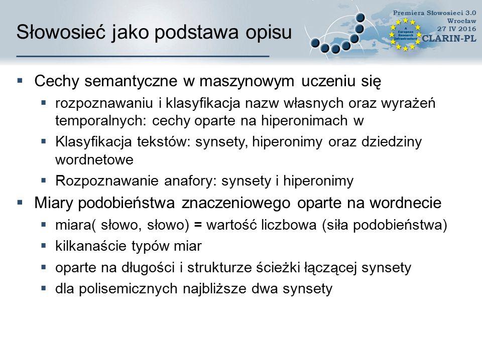 Zastosowania  Łącznie ponad 720 zarejestrowanych użytkowników  Znacząca część to instytucje naukowe  oraz firmy  liczne zastosowania zagraniczne Premiera Słowosieci 3.0 Wrocław 27 IV 2016 CLARIN-PL