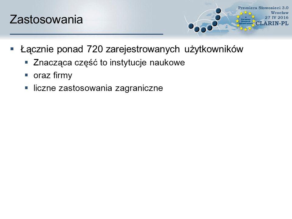 Zastosowania naukowe i terapeutyczne  Korpus gestów referencyjnych (referential gestures) (Lis, 2012)  klasyfikacja sztucznych synsetów czasownikowych  Interfejs pomiędzy leksykonem a ontologią (Wróblewska et al., 2013)  Słowniki  ling.pl  Open Multilingual Wordnet (Bond, 2013)  WordTies – CLARIN Dania  Wydobycie synonimów na potrzeby PanLex  Analiza złożonych sieci  Słowosieć jest wykorzystywana w leczeniu afazji Premiera Słowosieci 3.0 Wrocław 27 IV 2016 CLARIN-PL