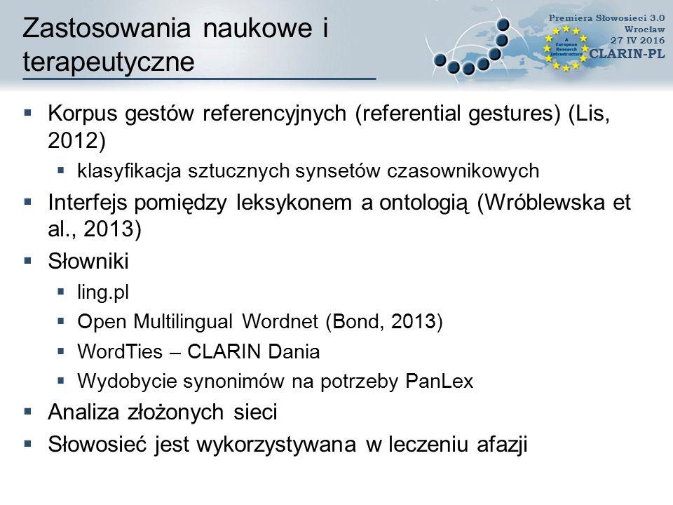 Zastosowania w przetwarzaniu  Słowosieć jako część zestawu słowników w narzędziu do korekty językowej (Miłkowski, 2010)  Miara podobieństwa oparta na Słowosieci w badaniach na otologiami  (Lula and Paliwoda-P˛ekosz, 2009)  Wydobywanie terminologii i grupowanie terminów  (Mykowiecka and Marciniak, 2012)  Wydobywanie słowników atrybutów opinii  (Wawer and Gołuchowski, 2012)  Wydobywanie relacji semantycznych  (Gołuchowski and Przepiórkowski, 2012) Premiera Słowosieci 3.0 Wrocław 27 IV 2016 CLARIN-PL
