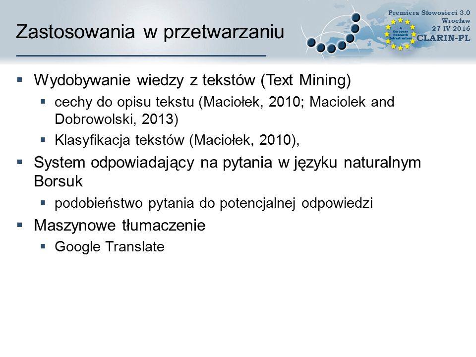 Zadeklarowane zastosowania  Badania nad ontologiami i generowanie ontologii, leksykalizacja pojęć ontologicznych  Badania nad polską leksyką  Dydaktyka, w tym wiele prac magisterskich i samokształcenie  Tłumaczenie tekstów i budowa słowników polsko-angielskich  Konstrukcja tezaurusów  Ujednoznacznianie wyjścia z parsera  Wizualizacja danych  Obliczanie podobieństwa dokumentów  Indeksowanie dokumentów, opisywanie metadanymi lub tagowanie  Klasyfikacja tekstów: fragmentów i dokumentów  Konstrukcja chatbotów i systemów dialogowych  W ramach systemu anty-plagiatowego  Program do rozpoznawania języka Premiera Słowosieci 3.0 Wrocław 27 IV 2016 CLARIN-PL