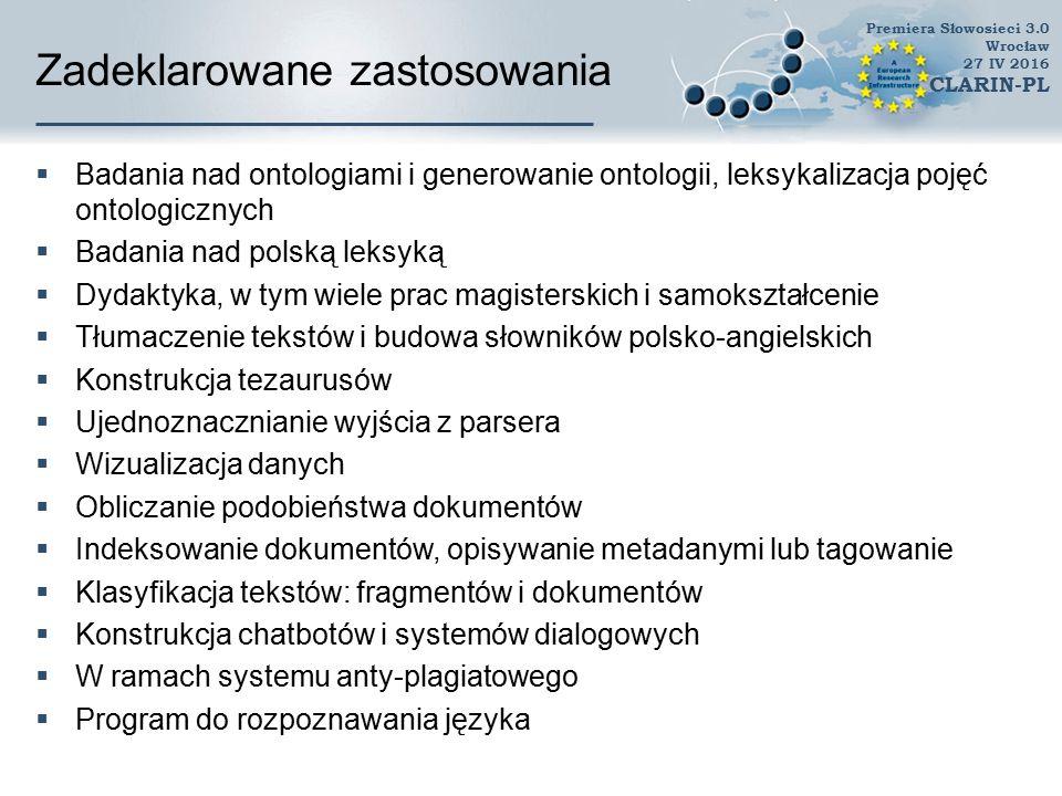 Zadeklarowane zastosowania  Rozwój gramatyki języka polskiego (Polish Link Grammar)  Kategoryzacja wyrażeń metaforycznych  Wykorzystanie w ramach badań korpusowych, np.