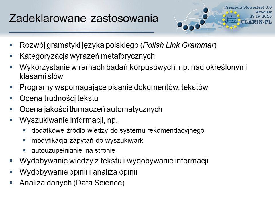 Zadeklarowane zastosowania  Wielojęzyczne ujednoznacznianie znaczeń (Multilingual Word Sense Disambiguation)  Systemy rekomendacyjne  Wyszukiwarki semantyczne, inteligentne wyszukiwarki  Systemy wspomagające naukę języka  Komunikacja z robotami w języku naturalnym  Budowa wordnetów dla innych języków  przykład i analogia  Testowanie systemów analizujących język polski  Badania leksykograficzne  Punkt wyjścia do badań korpusowych  badanie korpusowe nad rzeczownikami dwurodzajowymi  Tworzenie poezji generatywnej  Analiza zapożyczeń Premiera Słowosieci 3.0 Wrocław 27 IV 2016 CLARIN-PL