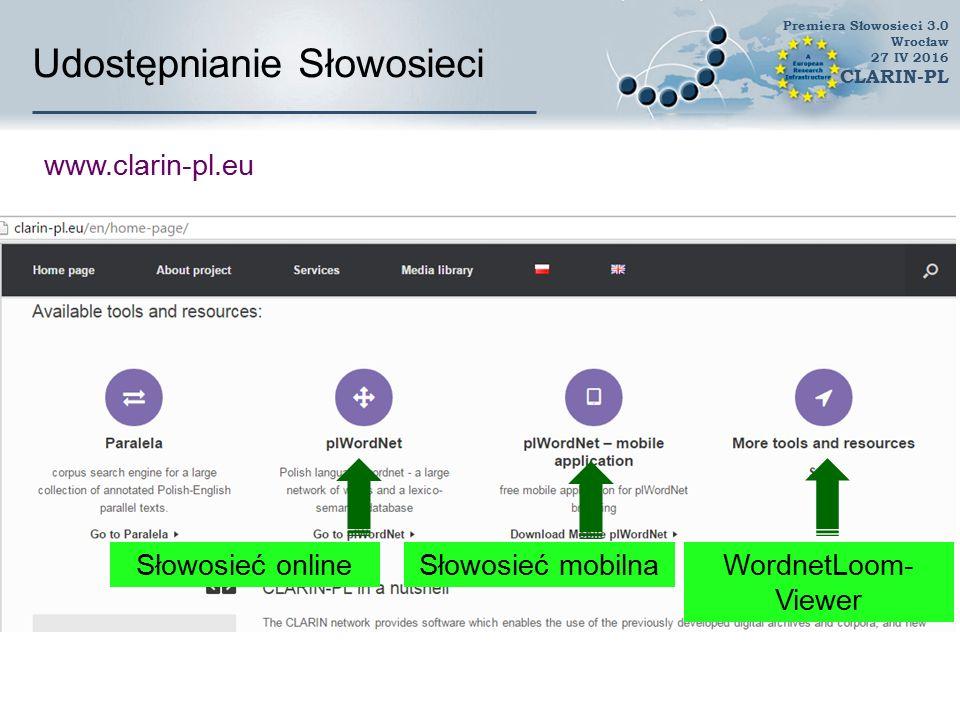 Udostępnianie Słowosieci www.plwordnet.pwr.wroc.pl/wordnet Premiera Słowosieci 3.0 Wrocław 27 IV 2016 CLARIN-PL