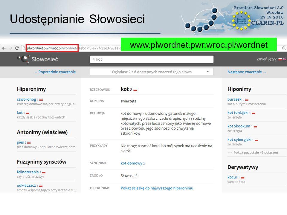 Udostępnianie Słowosieci WordnetLoom Premiera Słowosieci 3.0 Wrocław 27 IV 2016 CLARIN-PL