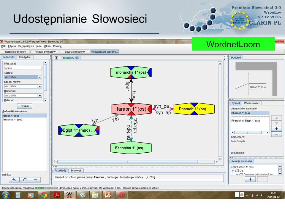 Udostępnianie Słowosieci Słowosieć mobilna Premiera Słowosieci 3.0 Wrocław 27 IV 2016 CLARIN-PL